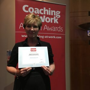 Award winner E Patterson at the Coaching at Work Awards 2019
