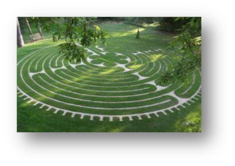 Labyrinth at Tofte Manor illustrating a practice from Reflect to Create!